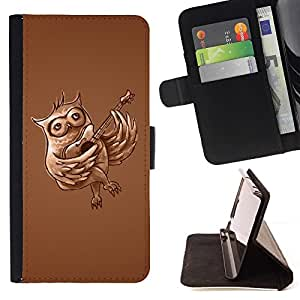 DEVIL CASE - FOR Samsung Galaxy S6 - Funny Guitar Owl - Style PU Leather Case Wallet Flip Stand Flap Closure Cover