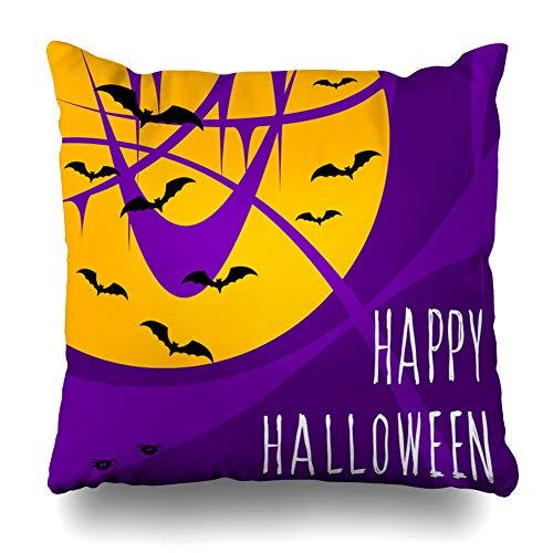 WAYATO Pillow Case Short Plush Throw Pillow Covers Happy Halloween Card Party Invit Poster Album Menu T Shirt Bag Etc Raster Copy Bed Home Decor Cushion Cover 18X18 Inch -