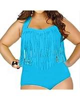 Mysuntown Womens Plus Size Retro High Waist Two Piece Bikini Swimwear