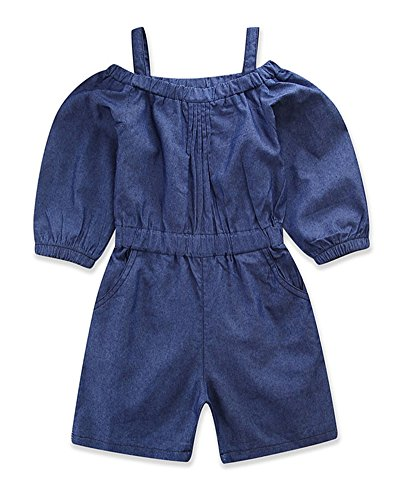 Pinleck Toddler Little Girls Cami Strap Denim Jumpsuit Summer Long Sleeve Overall Outfit by Pinleck