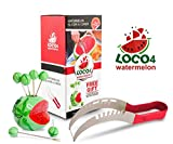 Loco4watermelon - Watermelon Stainless Steel Slicer & Cutter Knife (Red) + FREE GIFT Decorative Holder with Fruit Skewers