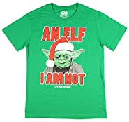 Mad Engine Disney Star Wars Santa Yoda Men's Shirt An Elf I Am Not