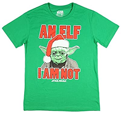 Mad Engine Disney Star Wars Santa Yoda Men's Shirt An Elf I Am Not