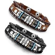 Amazon Lightning Deal 100% claimed: Besteel Vintage Genuine Leather Bracelet for Men CZ Brown Adjustable Bangle Braided Bracelet, 7.3-8.5 inches