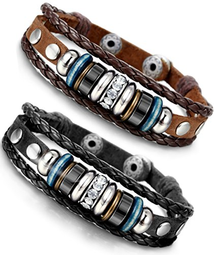 Vintage Button Bracelet (Besteel 2PCS Vintage Genuine Leather Bracelet for Men CZ Brown Adjustable Bangle Braided Bracelet, 7.3-8.5 inches)