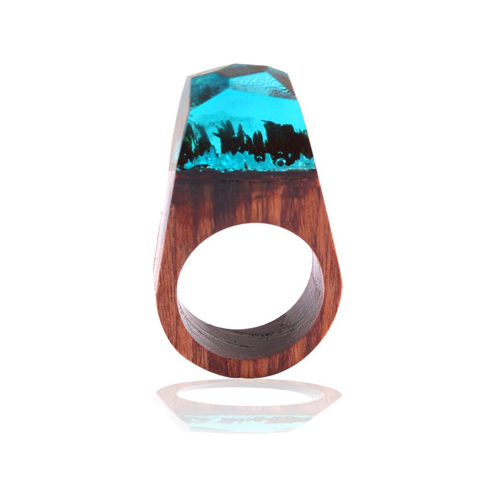 Yiwanjia 1pc 18mm Handmade Wood Resin Ring with Magnificent Tiny Fantasy Secret Landscape Daily Life Jewelry