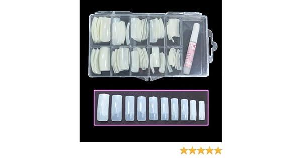 BF Nuevo profesionales uñas naturales con Tip Box y pegamento (media Tips - 100pcs) para extensiones de uñas Nail Art consejos de diseño de uñas acrilicas: ...