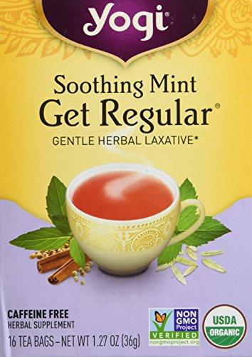 Yogi Herbal Tea Get Regular Caffeine Free Soothing Mint - 16 Tea Bags