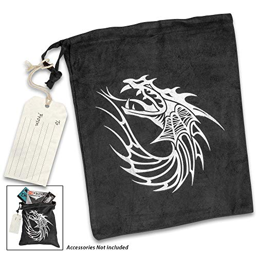 K EXCLUSIVE Dragon Gift Bag with Hanger Tag - Black Velveteen Construction, Drawstring Closure, Printed Artwork - Dimensions 11 1/2