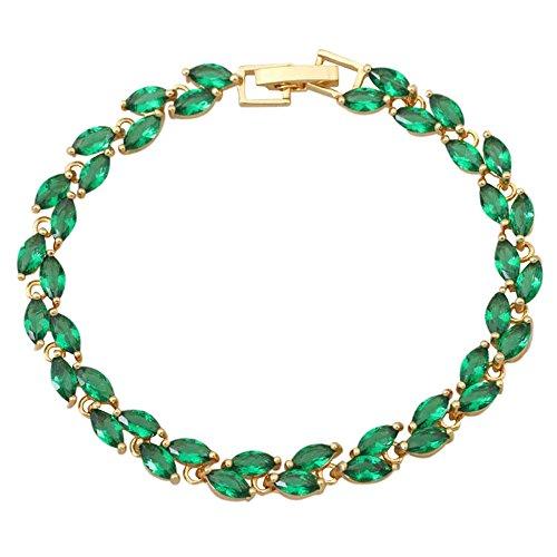 Made with Genuine Austrian Crystals Emerald Bracelets Fashion Jewelry 18cm 7.87inch 13g B140 (Austrian Crystal Genuine Bracelet)