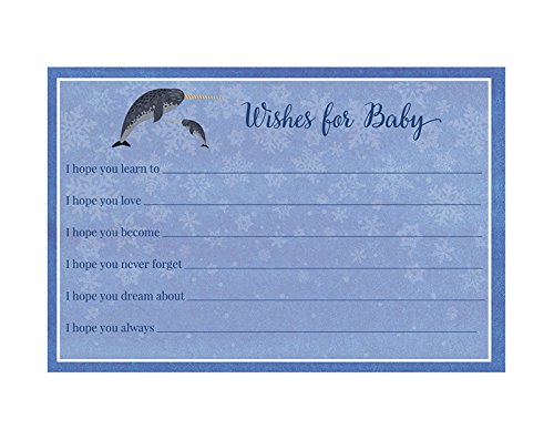 Narwhal Baby Shower, Wishes for Baby, Boys, Blue, Girls, Neutral, Watercolor, Sprinkle, Shower Games, Narwhol, Unicorn, Water Unicorn, Fish, Horn, 25 Printed Game Cards, Winter, Snowflake (Printed Horns Party)