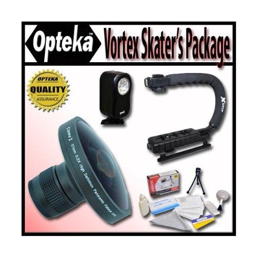 Opteka Deluxe Vortex Skaters Package (Includes The Opteka Platinum Series 37mm 0.2X HD Panoramic Vortex Fisheye Lens, X-Grip Camcorder Handle, 3 Watt Video Light) for Digital & Video Cameras