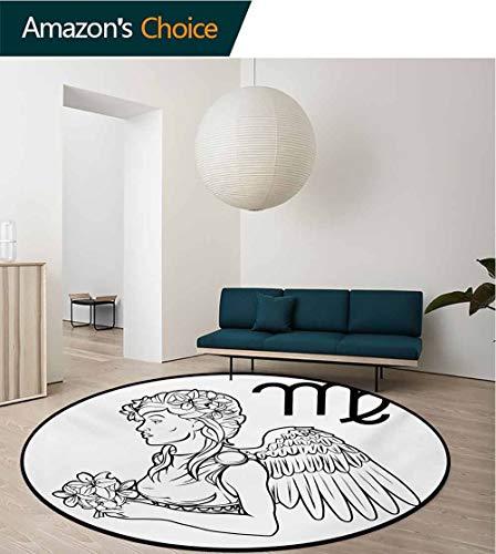 RUGSMAT Zodiac Virgo Carpet Gray Round Area Rug,Astrological