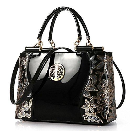 (JVPS 28-H) bolso de las señoras oblicuas de charol bordado oblicuo bolso de hombro OL material de alta calidad de moda ligero Negro