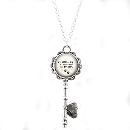 Amazoncom Stap Dog Lover Key Necklace My Little Dog A Heartbeat