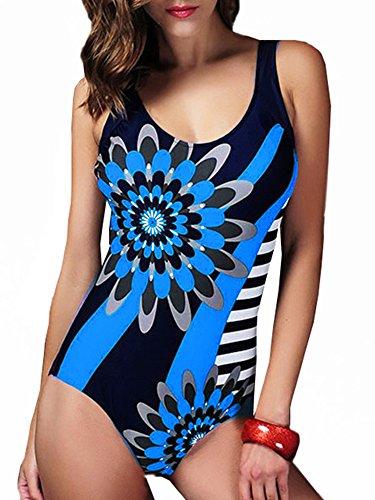 GOZAR Mujeres Plus Size Backle Inala Estampado Floral De Alta Elástico De Una Sola Pieza Reúnen Traje De Baño-Rojo-2XL Azul