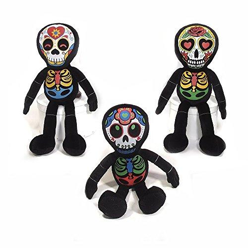 Halloween Dia De Los Muertos Plush Skeleton Toy - 3 Pack, 16