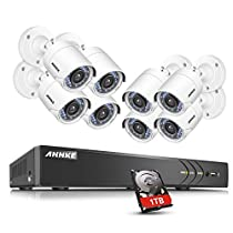 ANNKE Security Camera System 8-channel 1080P HD-TVI H.264+ Realtime DVR and (8) 2.0MP High-Resolution Outdoor Security Cameras with Motion-Triggered Email Alert ,1TB SurveillanceHardDiskDrive