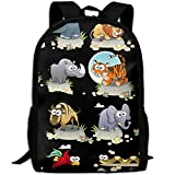 CY-STORE Hand-painted Cartoon Animals Outdoor Shoulders Bag Fabric Backpack Multipurpose Daypacks For Adult