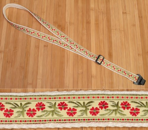 Trophy USA-made TROPICAL FLOWERS Cotton Ukulele Strap