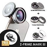 Ztylus Z-Prime Mark III 3+1 Lens Kit for Apple iPhone 7/8 / 7 Plus / 8 Plus/X/XS/XR/XS MAX (Fisheye + Wide Angle + Macro Lens + Lens Clip Adapter) (Mark III)