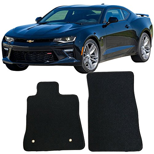 2018 Chevy Camaro | OEM Factory Fitment Floor Mats Carpet Front & Rear Black 2PC Nylon by IKON MOTORSPORTS | 2017 (Factory Oem Carpet)