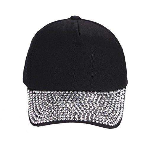 (Womail Women Cotton Rhinestone Baseball Cap Adjustable Hat For Boy (Black))
