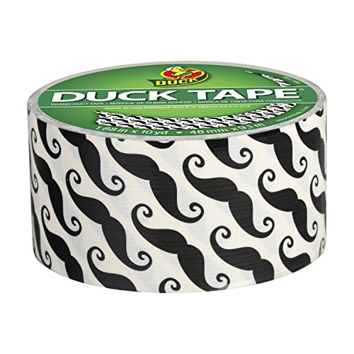 Duck Brand 281026 Printed Duct Tape, Mustaches, 1.88 Inches x 10 Yards, Single Roll