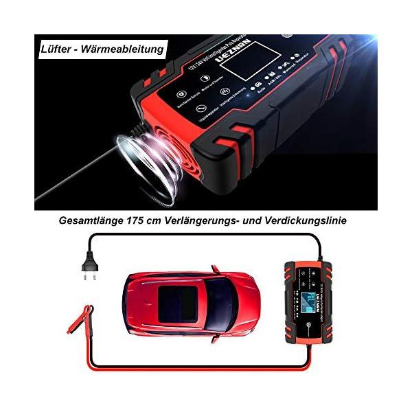 5147iCrvpSL Ueznirn Ladegerät Autobatterie 12V/24V KFZ Batterieladegerät Vollautomatisches Intelligentes Erhaltungsladegerät mit LCD…
