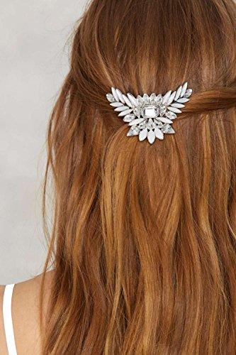 QTMY Leaves Gemstone Crystal Rhinestone Hair Pin Hair Jewelry Hair Accessories