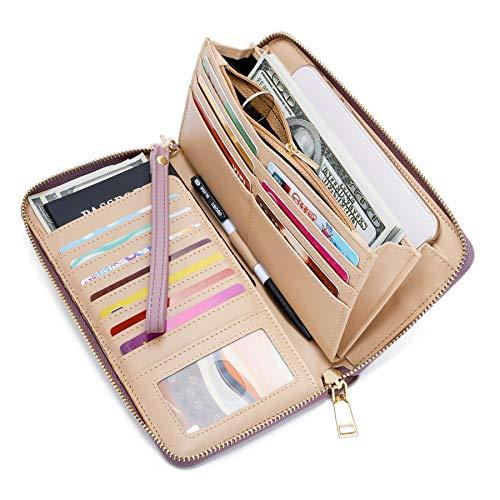 (WOZEAH Women's RFID Blocking PU Leather Zip Around Wallet Clutch Large Travel Purse (A purple))