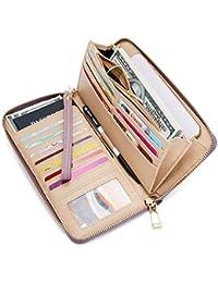 Women's RFID Blocking PU Leather Zip Around Wallet Clutch...