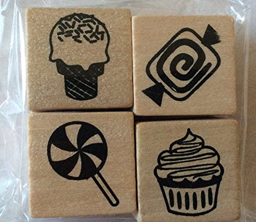 Set of 4 Food Treats Mini-Stamps - Wood Mounted - Ice Cream Cone, Lollipop, Cupcake, Candy (Candy Rubber)