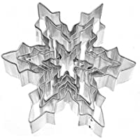 Bullidea 5pcs Cookie Biscuit Cake Mold Cutter Stainless Steel Snowflake Pattern Pastry Baking Moulds