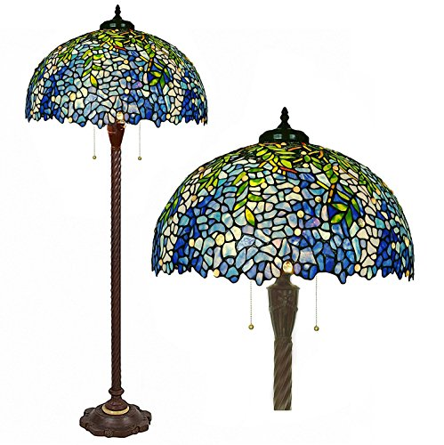 3 Shade Stained Glass Lamp - Floor Lamps,Magcolor Tiffany Style Stained Glass Purple Wisteria Floor Lamp with 20 inches Handmade Lampshade, Suitable for Decorating Room