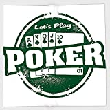 Cotton Microfiber Hand Towel,Poker Tournament Decorations,Lets Play Poker Stamp Royal Flush Grunge Vintage Full House,Green White,for Kids, Teens, and Adults,One Side Printing