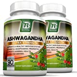 BRI Nutrition Ashwagandha - 2-Pack - 1000mg Pure Ashwagandha Root Powder - 2 Veggie Capsules Per Serving .