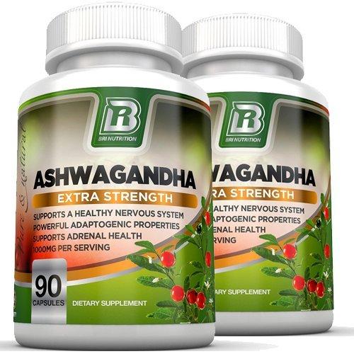 BRI Nutrition Ashwagandha - 2-Pack - 1000mg Pure Ashwagandha Root Powder - 2 Veggie Capsules Per Serving . by BRI Nutrition