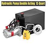 Happybuy Hydraulic Pump Double Acting 15 Quart Metal Reservoir Electric Hydraulic Pump Unit for Dump Trailer (Double Acting 15 Quart)