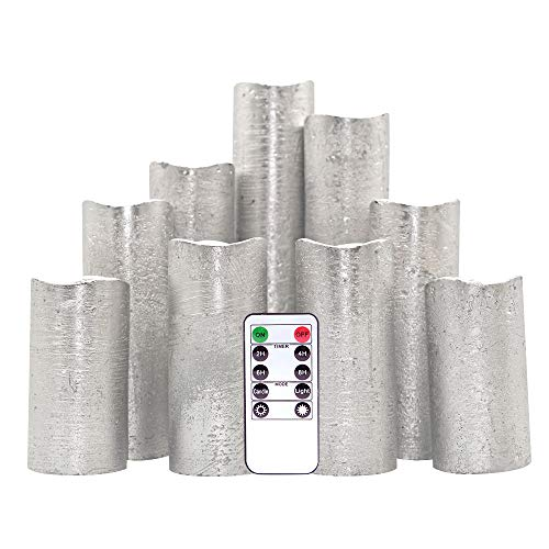 DDXJ Flameless Flickering Candles Battery Operated with Remote and Timer, Set of 9 Silver Coating Real Wax Warm Light LED Pillar Candles for Holiday, Christmas Decoration(Silver, 2.2