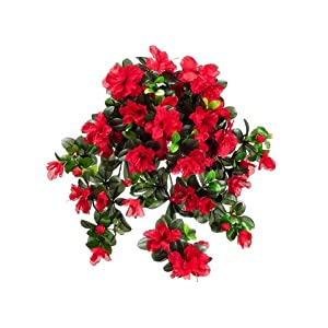 "29"" Water-Resistant Azalea Hanging Bush x10 RED (Pack of 6) 55"