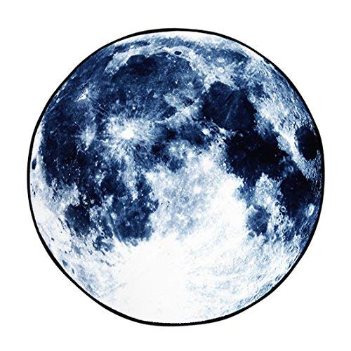 (GWELL Circle Moon Rug, Galaxy Carpet, for Living Room, Bedroom, Dining Room, Bathroom, Study, Kitchen, Anti-Slip, Water Absorbing (φ 31.5 Inch, Blue)