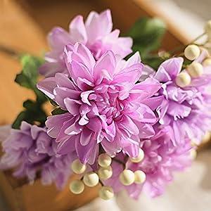 6 Heads Artificial Dahlia Flower Berry Silk Fake Rose Peony Flower Wreath Wedding & Home Decor Simulation Flower Vines 10