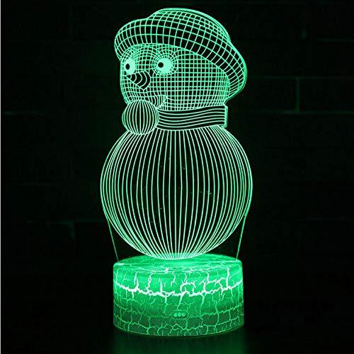 Zonxn Night Light Snowman 1 Theme 3D Lamp Led Night Light 7 Color Change Touch Mood Lamp Christmas - Snowman Color Change