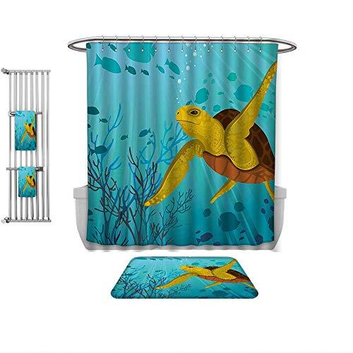 (Home Decoration Turtle Cartoon Cute Animal Under The Sea Silhouettes of Fish Sun Rays Coral ES Turquoise Mustard Brown, Custom Bathroom use-Multiple Sizes)