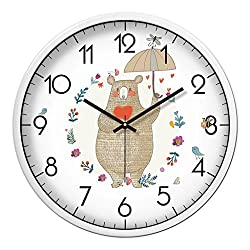 Cartoon Animal Grizzly Bear Pattern Wall Clock White Border Clock Bedroom Living Room Mute Quartz Clock (Size : S)
