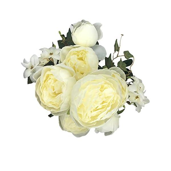 Grace Florist 2 Pack Decorative Artificial Peony Silk Flowers Bush Bouquet for Home Wedding Flowers Arrangement (Spring Milk White)