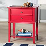 Accent End Table with 2 Storage Drawers – Bedroom Nightstand – Contemporary Living Room Colroed Side Table (Red) Review