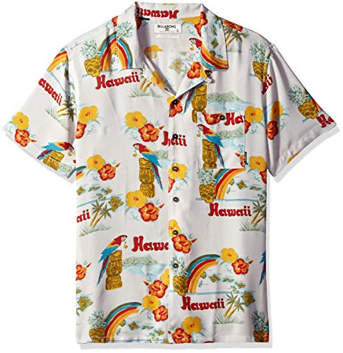 (Billabong Men's Vacay Print Short Sleeve Woven Shirt, Sand, XL)
