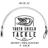 Cheap Tooth Shield Premium Fluorocarbon Musky Leader 5 Pack 80lb 12″